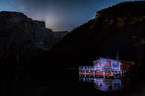 Pragser Wildsee by night